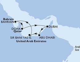 7 Noches por Emiratos Árabes Unidos, Bahréin, Qatar a bordo del MSC Splendida