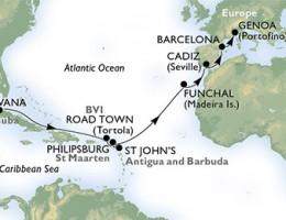 18 Noches por Cuba, Islas Vírgenes (Británicas), St. Maarten, Antigua y Barbuda, Portugal, España, Italia a bordo del MSC Armonia