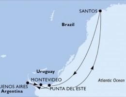 7 Noches por Brasil, Uruguay, Argentina a bordo del MSC Magnifica