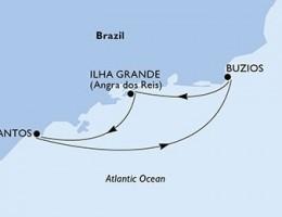 3 Noches por Santos, Buzios, Ilha Grande, Santos a bordo del MSC Preziosa