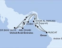 14 Noches por Emiratos Árabes Unidos, Omán a bordo del MSC Splendida