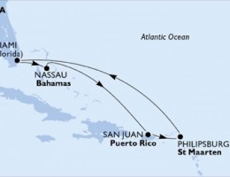 7 Noches por Estados Unidos, Bahamas, Puerto Rico, St. Maarten a bordo del MSC Seaside