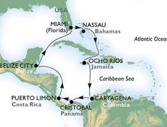11 Noches por Estados Unidos, Bahamas, Jamaica, Colombia, Panamá, Costa Rica, Belice a bordo del MSC Divina